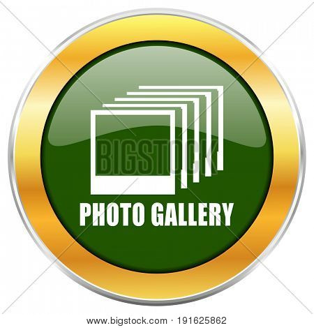Photo gallery green glossy round icon with golden chrome metallic border isolated on white background for web and mobile apps designers.