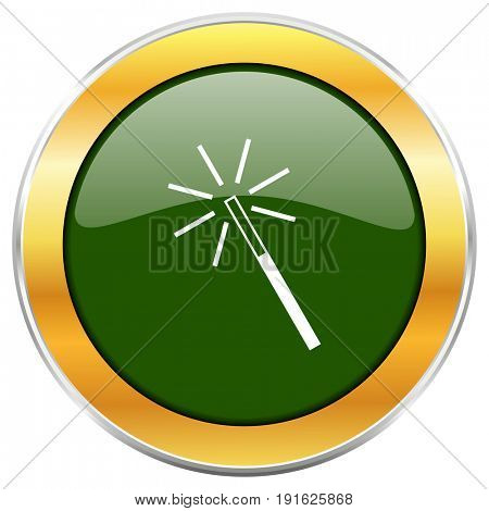 Magic wand green glossy round icon with golden chrome metallic border isolated on white background for web and mobile apps designers.