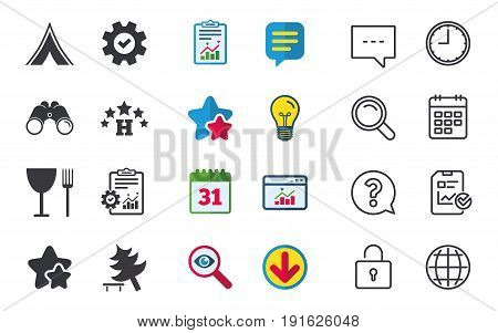 Food, hotel, camping tent and tree icons. Wineglass and fork. Break down tree. Road signs. Chat, Report and Calendar signs. Stars, Statistics and Download icons. Question, Clock and Globe. Vector