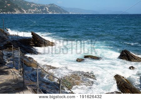 Beautiful seascape with mountains and waves