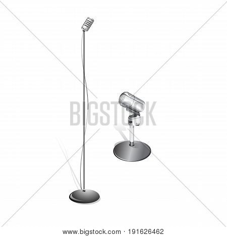 Different concert microphones collection vector illustration Isolated on White Background