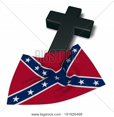 christian cross and flag of the Confederate States of America - 3d rendering