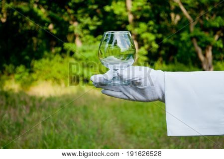 A waiter's hand in a white glove and a white napkin holding an empty cognac glass glass on a blurred background of nature green bushes and trees