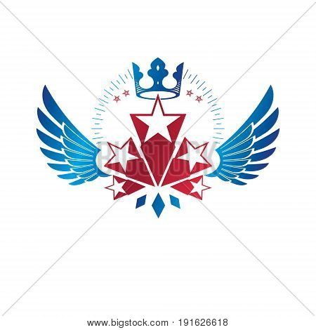 Winged ancient Star emblem decorated with imperial crown. Heraldic vector design element 5 stars award symbol. Retro style label heraldry logo.