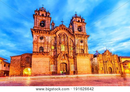 Cusco Peru - Plaza de Armas and Church of the Society of Jesus or Iglesia de la Compania de Jesus