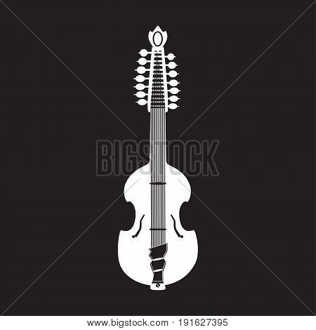 Vector illustration of viola guitar white template on black background. Flat style design musical instrument. Bluegrass and country music.
