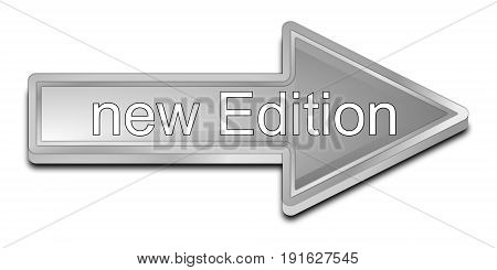 silver New Edition Arrow Button - 3D illustration