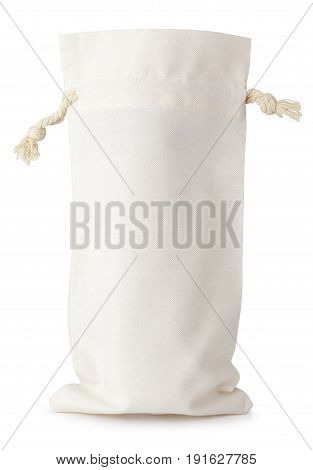 Front view of single opened fabric cotton small bag isolated on white background with clipping path