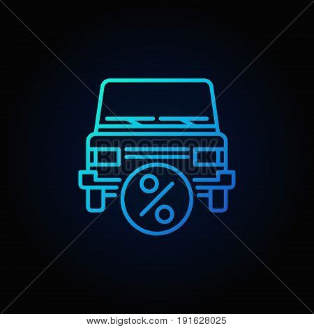 Car leasing blue icon - vector car with percent outline symbol on dark background