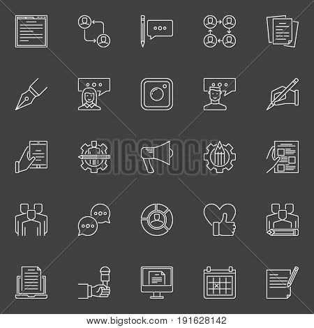 Social media and blog concept icons. Vector set of blogging outline minimal symbols on dark background