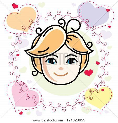 Cute girls face human head. Vector blonde character smiling girl face features.