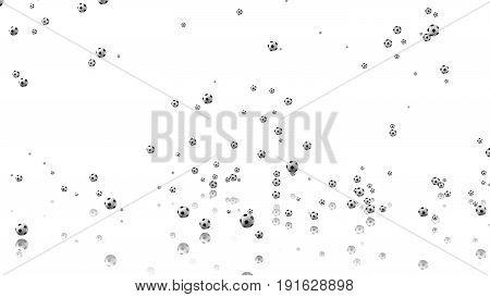 3D illustration of Many tiny Footballs raining with a white background