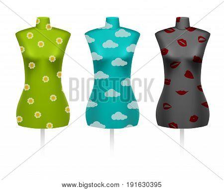 Set of female vintage dressmakers tailors dummy mannequins with defferent patterns