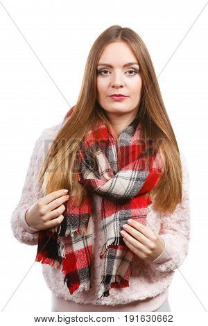 Woman Wearing Woolen Checked Scarf Warm Autumn Clothing