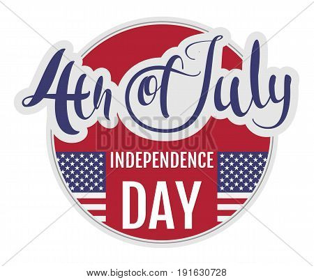 4 of july Independence Day. Star stripe flag symbol united states. Vector greeting card
