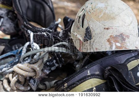 Helmet With Rope And Tools For Industry Alpinism