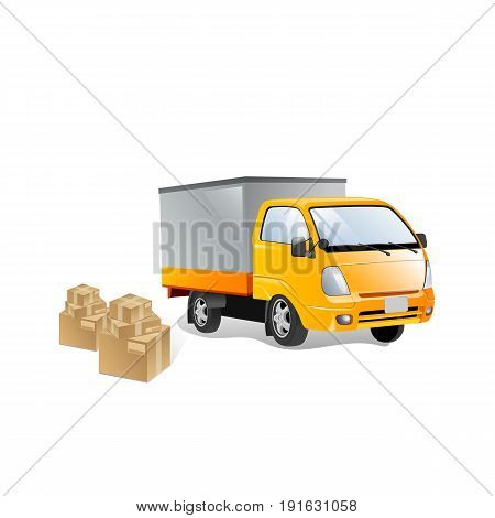 Delivery van with shadow and cardboard boxes with fragile signs. Product goods shipping transport. Fast service truck
