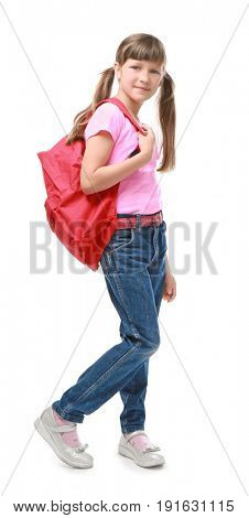 Pretty little girl with schoolbag on white background