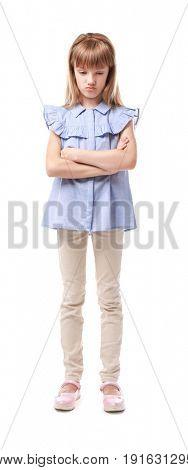 Displeased little girl on white background