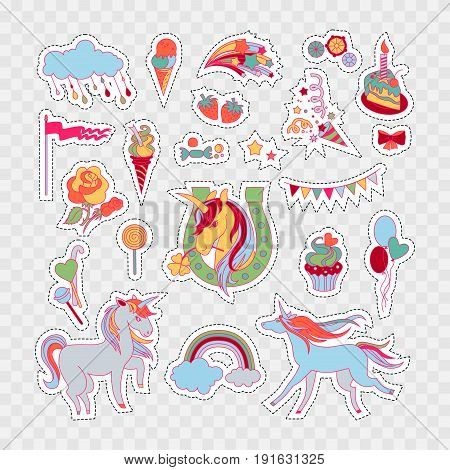 Hand-drawn elements cloud, cake, sweets, flower, strawberry, ice-cream, flag for patches, stickers design cards and leaflets Cartoon elements characters