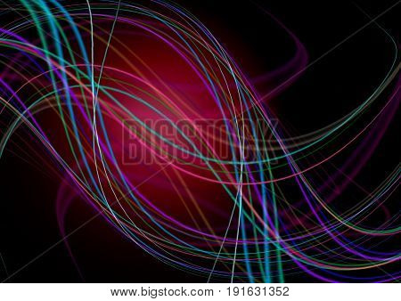 Abstract with red back lit black background with intersecting curving colored strips