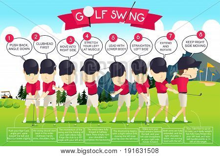 A vector illustration of Golf Swing Instruction Infographic