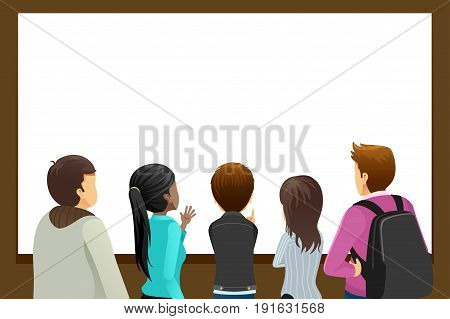 A vector illustration of Group of People Looking at Blank Copyspace