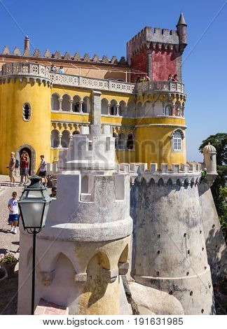 Sintra, Portugal - May 4, 2017: Pena National Palace. Palacio Nacional da Pena
