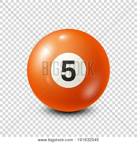 Billiard, orange pool ball with number 5.Snooker. Transparent background.Vector illustration.