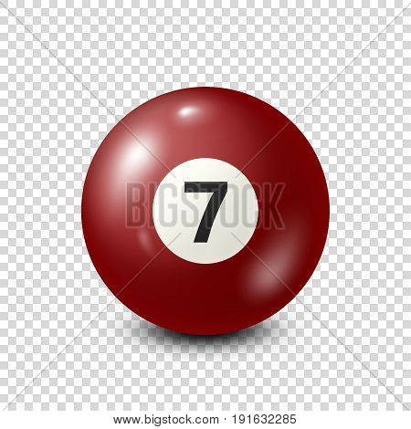 Billiard, red pool ball with number 7.Snooker. Transparent background.Vector illustration.