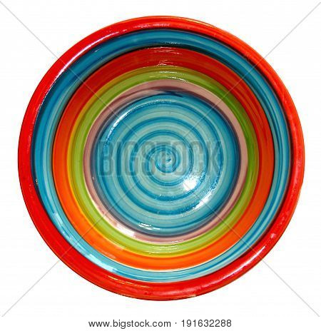 Bright Deep Dish With A Spiral Pattern Isolated; View From Above