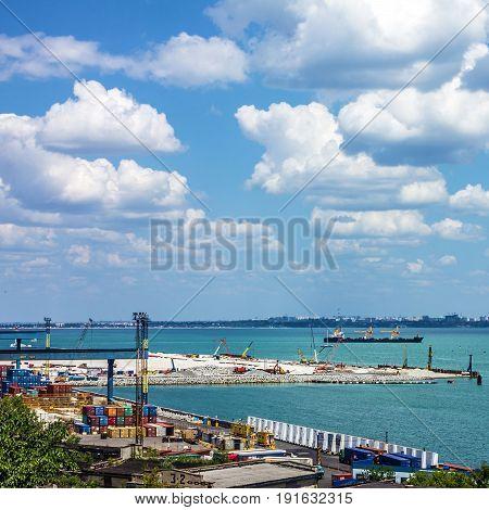 Container terminal in Quarantine harbor of Odessa sea commercial port , Ukraine.