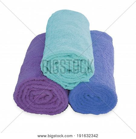Rolled Up Blue  Beach Towel On White Background