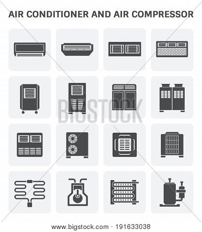 Vector icon of air conditioner and air compressor part of hvac system.