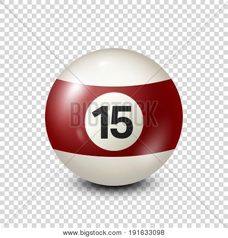 Billiard, yellred ow pool ball with number 15.Snooker. Transparent background.Vector illustration.