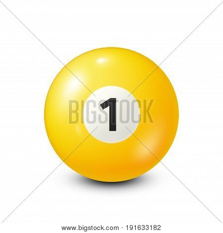 Billiard, yellow pool ball with number 1.Snooker. White background.Vector illustration.