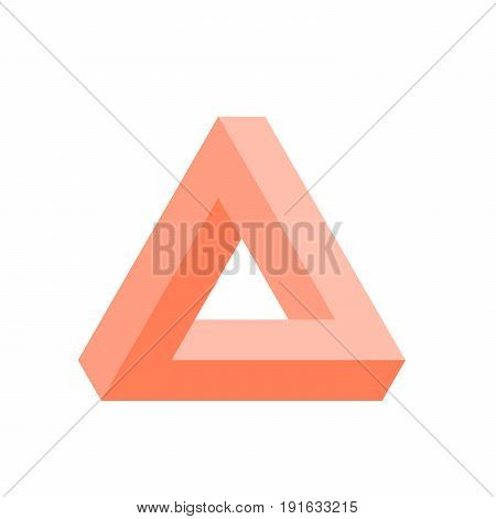Penrose triangle icon in pink. Geometric 3D object optical illusion. Vector illustration.