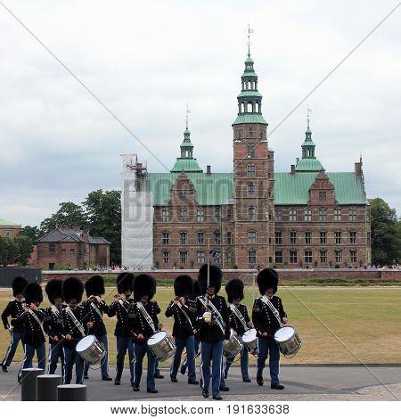 COPENHAGEN, DENMARK - APRIL 22, 2017 : Royal guardsmen in square of Royal castle Amalienborg, Copenhagen, Denmark
