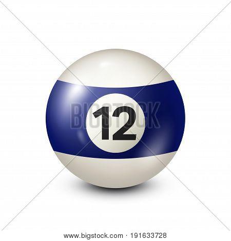 Billiard, blue pool ball with number 12.Snooker. Transparent background.Vector illustration.