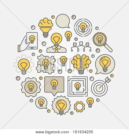 Colorful business idea illustration. Vector round sign made with different light bulb icons. Ideas concept
