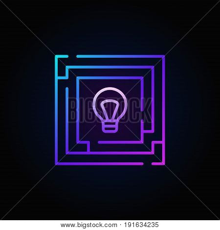 Colorful labyrinth with light bulb icon. Idea concept outline sign or logo element