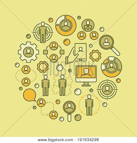 Human resources concept illustration - vector creative hiring and recruitment sign. HR circular symbol