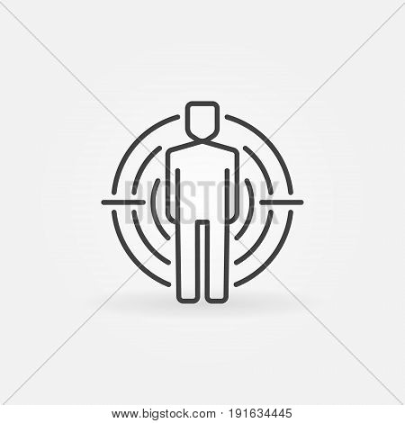 Man under crosshair icon - target vector outline icon or design element. Human resources concept sign
