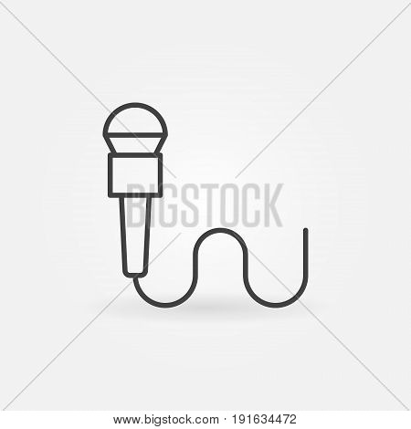 Microphone line icon - vector outline interview concept sign in thin line style