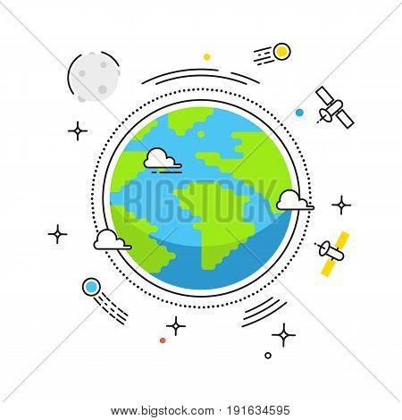 Earth lines vector design. Earth in space with lines space satellites, comets, Moon icons. Stock illustration for banners, catalogs, infographics