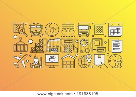 Delivery and logistics illustration. Vector global transportation or supply chain concept banner made with line icons