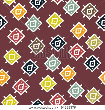vector abstract background with seamless african colorful rhombuses pattern. geometric tribal texture
