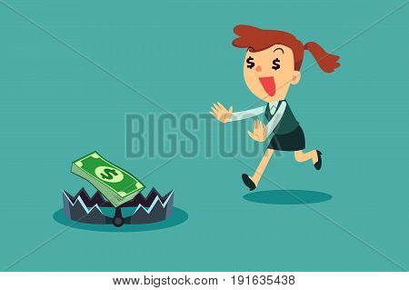 Greedy businesswoman running to money on bear trap