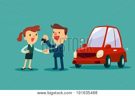 Car salesman give a handshake and new car key to businesswoman. Car sale. Auto business concept.