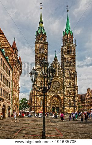 NUREMBERG, GERMANY - March 6 2017: Nuremberg Cathedral Germany. St. Lawrence church.